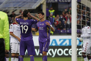 Jose' Maria Basanta (L) and Mario Gomez of ACF Fiorentina shows his dejection during the Serie A match between ACF Fiorentina and Cagliari Calcio at Stadio Artemio Franchi on April 26, 2015 in Florence, Italy.