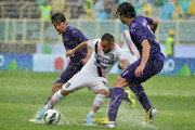 Fabrizio Miccoli (C) of Palermo is challenged by Matias Fernandez (L) and Ahmed Hegazi of Fiorentina compete for the ball during the Serie A match between ACF Fiorentina and US Citta di Palermo at Stadio Artemio Franchi on May 12, 2013 in Florence, Italy.