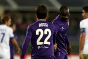 Giuseppe Rossi and Khouma Babacar of ACF Fiorentina gestures during the UEFA Europa League match between ACF Fiorentina and Os Belenenses on December 10, 2015 in Florence, Italy.