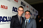 Will Poulter and Hector Villagra, executive director at ACLU Southern California, attend ACLU SoCal Hosts Annual Bill of Rights Dinner at the Beverly Wilshire Four Seasons Hotel on December 3, 2017 in Beverly Hills, California.