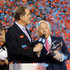 Robert Kraft Photos - Owner Robert Kraft of the New England Patriots holds the Lamar Hunt trophy as he is interviewed by Jim Nantz after the AFC Championship Game against the Jacksonville Jaguars  at Gillette Stadium on January 21, 2018 in Foxborough, Massachusetts. - AFC Championship - Jacksonville Jaguars v New England Patriots