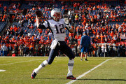 Tom Brady #12 of the New England Patriots warms up prior to the AFC Championship game against the Denver Broncos at Sports Authority Field at Mile High on January 24, 2016 in Denver, Colorado.