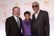 AFI President and CEO Bob Gazzale, Librarian of Congress Dr. Carla Hayden and Actor Morgan Freeman attend the AFI 50th Anniversary Gala at The Library of Congress on November 1, 2017 in Washington, DC.