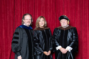 (L-R) AFI President Bob Gazzale, honorary degree recipient Lesli Linka Glatter and honorary degree recipient and Paul Schrader pose for a photo at AFI's Concervatory Commencement Ceremony at TCL Chinese Theatre on June 10, 2019 in Hollywood, California.