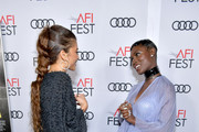 """(L-R) Zendaya and Jodie Turner-Smith attend the """"Queen & Slim"""" Premiere at AFI FEST 2019 presented by Audi at the TCL Chinese Theatre on November 14, 2019 in Hollywood, California."""