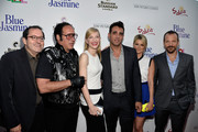 (L-R) Sony Pictures Classics co-president Michael Barker and actors Andrew Dice Clay, Cate Blanchett, Bobby Cannavale, Ali Fedotowsky and Peter Sarsgaard arrive at the premiere of 'Blue Jasmine' hosted by AFI & Sony Picture Classics at AMPAS Samuel Goldwyn Theater on July 24, 2013 in Beverly Hills, California.
