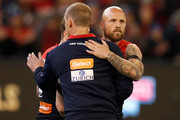 Simon Goodwin, Senior Coach of the Demons and Nathan Jones of the Demons embrace during the 2018 AFL First Elimination Final match between the Melbourne Demons and the Geelong Cats at the Melbourne Cricket Ground on September 07, 2018 in Melbourne, Australia.