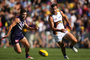 Hayden Ballantyne of the Dockers Mitchell Brown of the Eagles contest for the ball during the round two NAB Challenge Cup AFL match between the Fremantle Dockers and the West Coast Eagles at Arena Joondalup on February 18, 2014 in Perth, Australia.