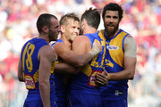 Mark LeCras of the Eagles celebrates after scoring a goal during the AFL Prelimary Final match between the West Coast Eagles and the Melbourne Demons on September 22, 2018 in Perth, Australia.