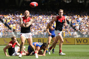 Nathan Jones of the Demons handballs during the AFL Preliminary Final match between the West Coast Eagles and the Melbourne Demons on September 22, 2018 in Perth, Australia.