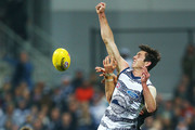 Jack Henry of the Cats competes for the ball  during the round 10 AFL match between the Geelong Cats and the Carlton Blues at GMHBA Stadium on May 26, 2018 in Geelong, Australia.