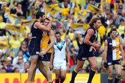 Josh Kennedy and Luke Shuey of the Eagles celebrate a goal during the round 13 AFL match between the West Coast Eagles and Port Adelaide Power at Patersons Stadium on June 19, 2011 in Perth, Australia.