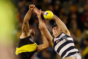(L-R) Alex Rance of the Tigers, David Astbury of the Tigers and Jack Henry of the Cats compete for the ball during the 2018 AFL round 20 match between the Richmond Tigers and the Geelong Cats at the Melbourne Cricket Ground on August 03, 2018 in Melbourne, Australia.