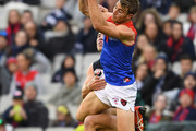 Tim Smith of the Demons marks during the round nine AFL match between the Carlton Blues and the Melbourne Demons at Melbourne Cricket Ground on May 20, 2018 in Melbourne, Australia.