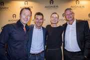 Norbert Dobeleit, Charly Steeb and Sibylle Schoen (CEO Aigner) attend the AIGNER store opening party on October 29, 2015 in Palma de Mallorca, Spain.