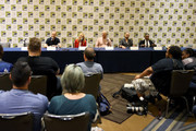 (L-R) Vince Gilligan, Peter Gould, Bob Odenkirk, Rhea Seehorn, Patrick Fabian, Michael Mando and Giancarlo Esposito speak during the 'Better Call Saul' press conference during Comic Con 2018 at  Hilton Bayfront on July 19, 2018 in San Diego, California.