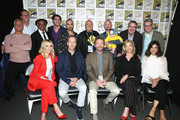"(Top row L-R) Patrick Fabian, AMC's Charlie Collier, Giancarlo Esposito, RJ Mitte, Michael Mando, Dean Norris, Aaron Paul, Vince Gilligan, and Peter Gould, (Bottom row L-R) Rhea Seehorn, Bob Odenkirk, Bryan Cranston, Anna Gunn, and Betsy Brandt attend the ""Breaking Bad"" 10th Anniversary Reunion/""Better Call Saul"" panels with AMC during Comic-Con International 2018 at San Diego Convention Center on July 19, 2018 in San Diego, California."