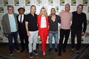 (L-R) Peter Gould, Giancarlo Esposito, Bob Odenkirk, Rhea Seehorn, Michael Mando, Patrick Fabian and Vince Gilligan attend the 'Better Call Saul' press conference during Comic Con 2018 at  Hilton Bayfront on July 19, 2018 in San Diego, California.