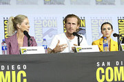(L-R) Jenna Elfman, Austin Amelio, and Alexa Nisenson attend the Fear the Walking Dead Panel at Comic Con 2019 on July 19, 2019 in San Diego, California.