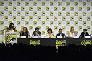 (L-R) Hanh Nguyen, Greg Nicotero, Joe Hill, Adrienne Barbeau, Giancarlo Esposito, Tricia Helfer, and DJ Qualls speak at the Creepshow Panel at Comic Con 2019 on July 19, 2019 in San Diego, California.