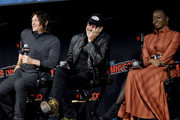 (L-R) Norman Reedus, Jeffrey Dean Morgan and Danai Gurira speak onstage during a panel for AMC's The Walking Dead Universe including AMC's flagship series and the untitled new third series within The Walking Dead franchise at Hulu Theater at Madison Square Garden on October 05, 2019 in New York City.