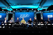 (L-R) Peter Gould, Vince Gilligan, Bob Odenkirk, Rhea Seehorn, Jonathan Banks, Patrick Fabian, Michael Mando and Giancarlo Esposito of 'Better Call Saul' speak onstage during the AMC Networks portion of the Winter 2020 TCA Press Tour on January 16, 2020 in Pasadena, California.