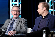 (L-R) Vince Gilligan and Bob Odenkirk of 'Better Call Saul' speak onstage during the AMC Networks portion of the Winter 2020 TCA Press Tour on January 16, 2020 in Pasadena, California.