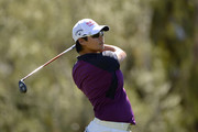 Yani Tseng of Taiwan hits a tee shot on the seventh hole during round one of the ANA Inspiration on the Dinah Shore Tournament Course at Mission Hills Country Club on March 29, 2018 in Rancho Mirage, California.