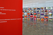 A wallpaper of chinese artist Ai Weiwei, dedicated to the visitors of the ART Cologne, is seen during the ART Cologne press preview at Koelnmesse on April 9, 2014 in Cologne, Germany.