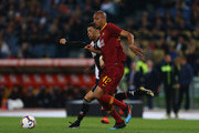 Cristiano Ronaldo of Juventus competes for the ball with Steven Nzonzi of AS Roma during the Serie A match between AS Roma and Juventus at Stadio Olimpico on May 12, 2019 in Rome, Italy.
