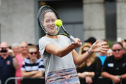 Ana Ivanovic takes part in an exhibition tennis match withon January 3, 2016 in Auckland, New Zealand. The ASB Classic starts on Monday 4, 2016.