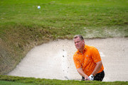 Tim Conley makes a shot out of the bunker on the ninth hole during the final round of the PGA Champions Tour AT&T Championship at the Oak Hills Country Club on October 25, 2009 in San Antonio, Texas.