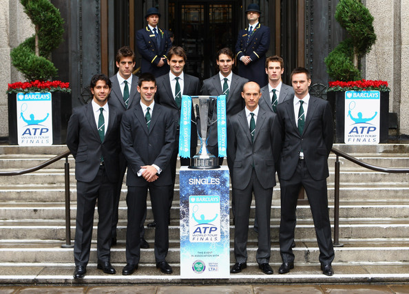 (L-R) Fernando Verdasco of Spain, Juan Martin Del Potro of Argentina, Novak Djokovic of Serbia, Roger Federer of Switzerland, Rafael Nadal of Spain, Nikolay Davydenko of Russia, Andy Murray of Great Britain and Robin Soderling of Sweden line up for a photo during the Barclays ATP World Tour Finals - Media Day at the County Hall Marriot Hotel on November 20, 2009 in London, England.