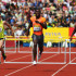Kerron Clement of USA (C) competes with LJ van Zyl of South Africa (L) and Bershawn Jackson of USA (R) in the Men's 400 Metres Hurdles during day two of the Aviva London Grand Prix track and field meeting at Crystal Palace Stadium on July 25, 2009 in London, England.