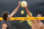 John Mayer and Trevor Crabb in action during the Semi Final round of the AVP New Orleans Open  on April 17, 2016 in Kenner, Louisiana.