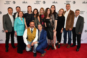 """(TOP L-R) Bill Sage, Ted Welch, Dale Soules, Breeda Wool, Lola Kirke, Charlotte Maltby and director Deb Shoval, producer Jessica Caldwell, screenwriter Karolina Waclawiak and Laura Teodosio (Bottom R) with crew members at the """"AWOL"""" Premiere during the 2016 Tribeca Film Festival at SVA Theatre on April 15, 2016 in New York City."""
