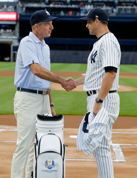 United States Ryder Cup Captain Jim Furyk Throws Out First Pitch At New York Yankees Game