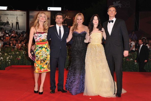 "Abbie Cornish (L-R) Actors Natalie Dormer, Oscar Isaac, Abbie Cornish, Andrea Riseborough and James D'Arcyattend the ""W.E."" premiere at the Palazzo Del Cinema during the 68th Venice Film Festival on September 1, 2011 in Venice, Italy."