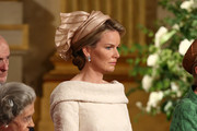 Queen Fabiola of Belgium and Princess Mathilde of  Belgium seen during the Abdication Of King Albert II Of Belgium, & Inauguration Of King Philippe on July 21, 2013 in Brussels, Belgium.
