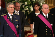 Prince Philippe of Belgium and Prince Albert II of Belgium seen inside after the Abdication Ceremony Of King Albert II Of Belgium, & Inauguration Of King Philippe at the Royal Palace on July 21, 2013 in Brussels, Belgium.