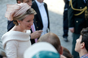 Princess Mathilde of Belgium  is seen in front of the Cathedral of St Michael and Saint Gudula prior to the Abdication Of King Albert II Of Belgium, & Inauguration Of King Philippe on July 21, 2013 in Brussels, Belgium.