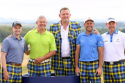 (L-R)  Russell Knox of Scotland, former rugby players Gavin Hastings and Doddie Weir, David Howell of England and Stephen Gallacher of Scotland pose for a photo on Tartan Wednesday before the Pro-Am event of the Aberdeen Standard Investments Scottish Open at Gullane Golf Course on July 11, 2018 in Gullane, Scotland.