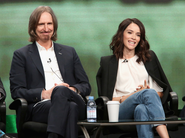 SundanceTV TCA Panel for 'Rectify' [event,conversation,white-collar worker,interaction,business,employment,spokesperson,sitting,businessperson,management,abigail spencer,ray mckinnon,creator,writer,l-r,portion,sundancetv tca panel for ``rectify,executive producer,sundancetv,panel discussion]