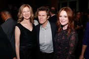 """(L-R) AMPAS CEO Dawn Hudson, actor Willem Dafoe and actress Julianne Moore attend The Academy of Motion Picture Arts and Sciences """"2019 New Members Party"""" at the Top of the Standard in New York on October 1, 2019 in New York City."""