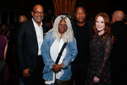 """(L-R) AMPAS New York director of programs and membership Patrick Harrison, actress Whoopi Goldberg, director Roger Ross Williams and actress Julianne Moore attend The Academy of Motion Picture Arts and Sciences """"2019 New Members Party"""" at the Top of the Standard in New York on October 1, 2019 in New York City."""