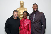 (L-R) Director Jordan Peele, actor Lupita Nyong'o and actor Winston Duke attend The Academy of Motion Picture Arts and Sciences official screening of Us at the MoMA Celeste Bartos Theater on March 18, 2019 in New York City.