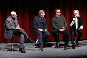 (L-R) Moderator Joe Neumaier, director and producer Steven Spielberg and actors Tom Hanks and Meryl Streep on stage during The Academy of Motion Picture Arts & Sciences Official Academy Screening of The Post at the MOMA Celeste Bartos Theater on December 7, 2017 in New York City.