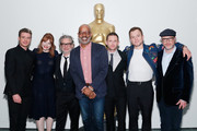 """(L-R) Actors Richard Madden, Bryce Dallas Howard, director Dexter Fletcher, AMPAS New York director of programs and membership Patrick Harrison, actors Jamie Bell, Taron Egerton and producer Matthew Vaughn attend The Academy of Motion Picture Arts and Sciences official screening of """"Rocketman"""" at the MoMA, Celeste Bartos Theater on May 29, 2019 in New York City."""