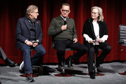 (L-R) Director and producer Steven Spielberg and actors Tom Hanks and Meryl Streep on stage during The Academy of Motion Picture Arts & Sciences Official Academy Screening of The Post at the MOMA Celeste Bartos Theater on December 7, 2017 in New York City.