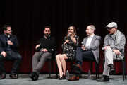 (L-R) Moderator Dave Karger, director Pablo Larrain, actress Natalie Portman, writer Noah Oppenheim and producer Darren Aronofsky attend a panel discussion following the Official Academy Screening of JACKIE, hosted by the Academy of Motion Picture Arts and Sciences at MOMA on November 29, 2016 in New York City.